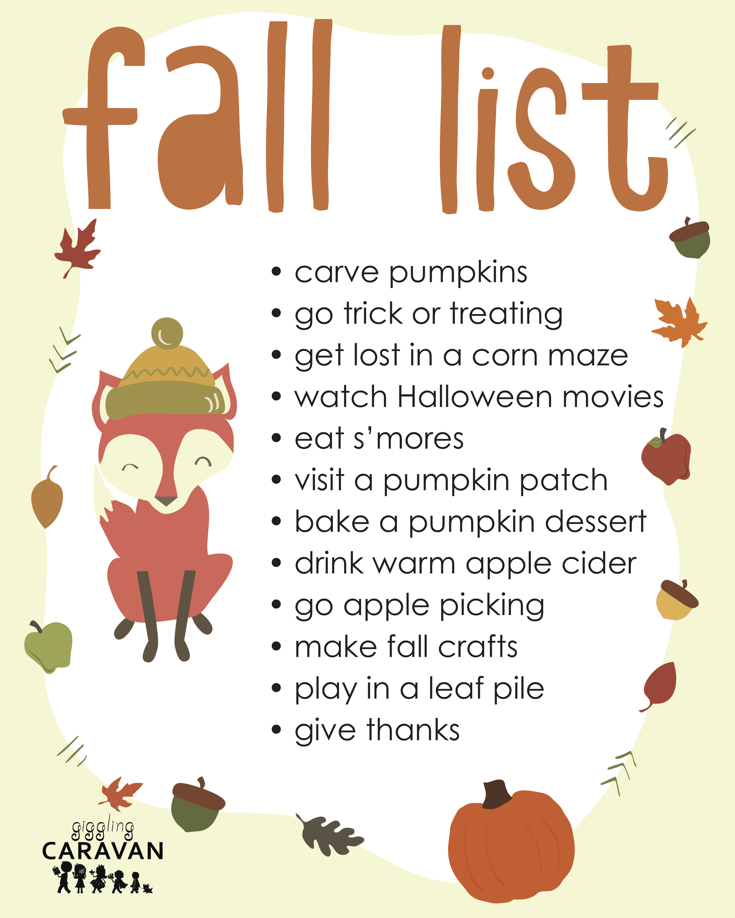Free Fall List Printable | www.gigglingcaravan.com